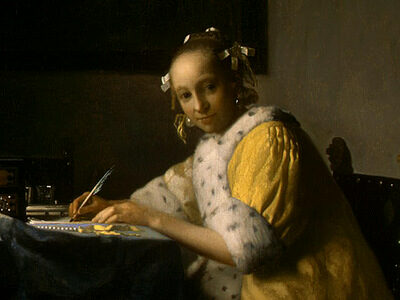 Echoes from Emptiness - Johannes Vermeer: A Lady Writing, detail