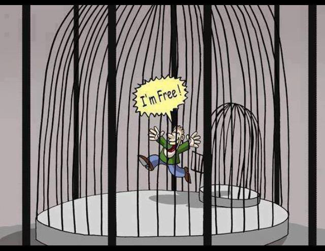 The 'me' who claims to be free is just a caged concept ...