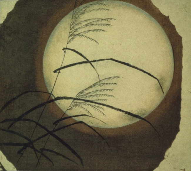Utagawa Hiroshige (Ando) - Wind Blown Grass Across the Moon