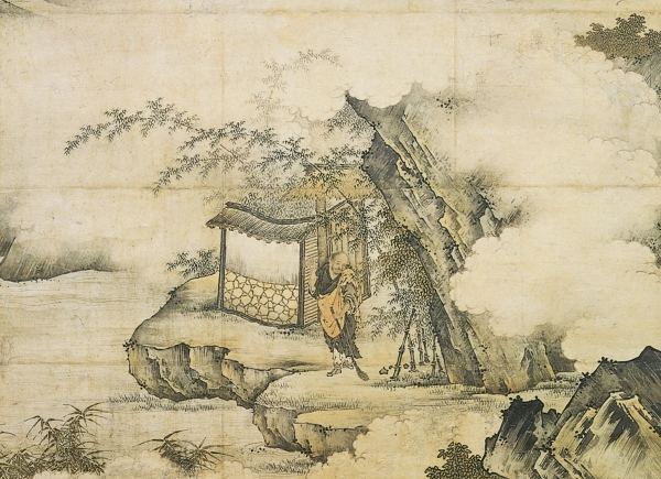 Kano Motonobu - Zen Patriarch Xiangyen Zhixian Sweeping with a Broom