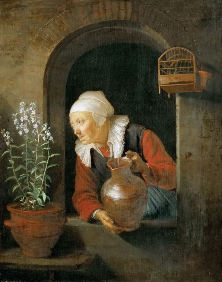 Gerrit Dou: Old Woman with a Jug at Window